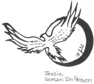 Drawing of a bird in flight, signed Jessie, Woman in Prison